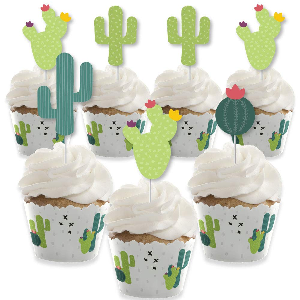 Big Dot of Happiness Prickly Cactus Party - Cupcake Decoration - Fiesta Party Cupcake Wrappers and Treat Picks Kit - Set of 24 by Big Dot of Happiness