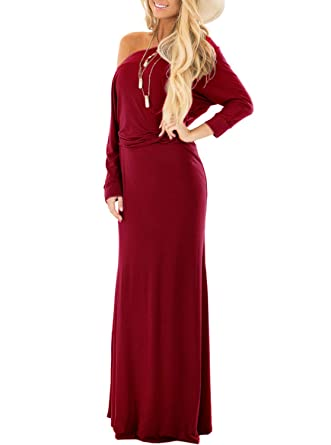Adreamly Women s Off The Shoulder Party Dress Long Sleeve Casual Maxi  Dresses Burgundy Small 8771f5230f