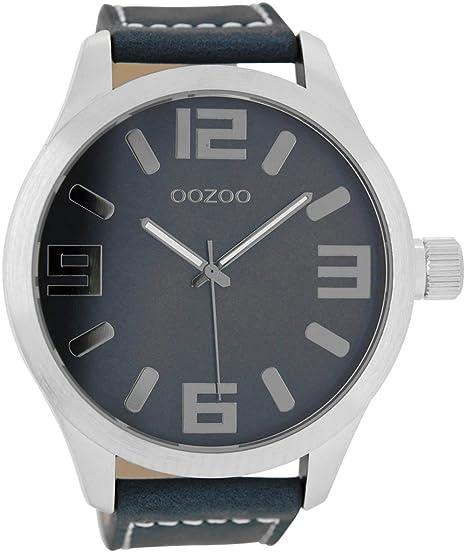 Oozoo Reloj de hombre con cinta de piel 51 mm negro/azul oscuro c7257: Amazon.es: Relojes