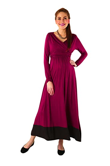 8e15c34a162 Momzjoy Elegant Mulberry Wine Front Wrap Maternity   Nursing Dress   Amazon.in  Clothing   Accessories