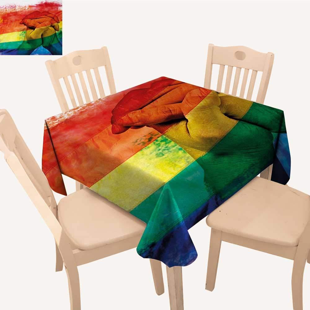 Pride 布製テーブルクロス カラフル ストライプ ハート サイン ラブ パッション ゲイ バレンタイン テーマ 木製背景 アウトドア テーブルクロス マルチカラー W 70