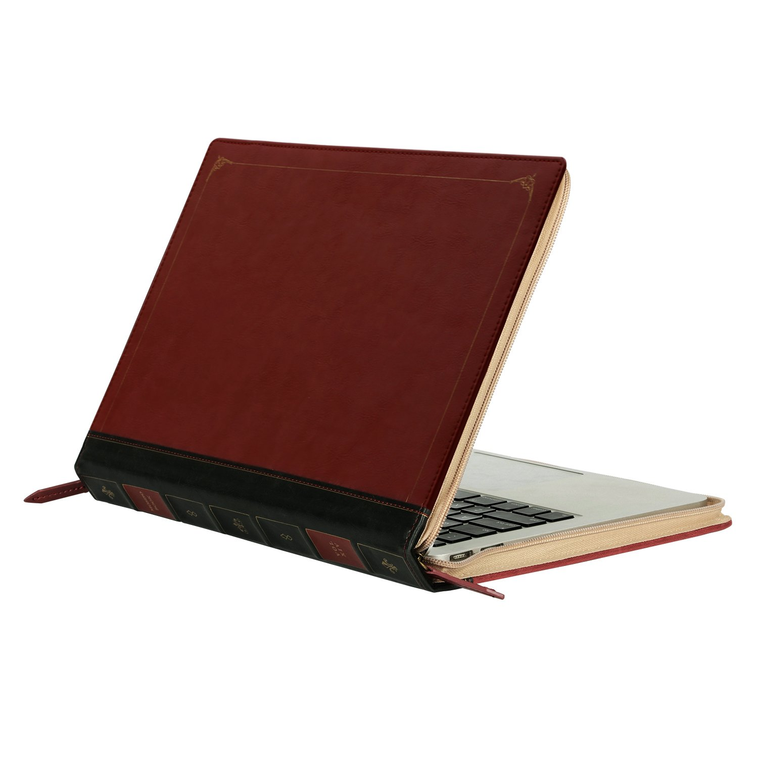 MOSISO PU Leather Zippered Case Only Compatible with Newest 2018 2017 2016 MacBook Pro 15 Inch with Touch Bar A1990 / A1707, Vintage Classic Premium Book Sleeve Cover, Wine Red