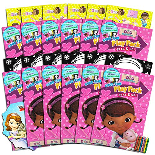 Disney Doc McStuffins Party Favors Set -- 12 Jumbo Play Packs Filled With Coloring Books, Stickers, Posters and Crayons (Disney Jr Doc McStuffins) -