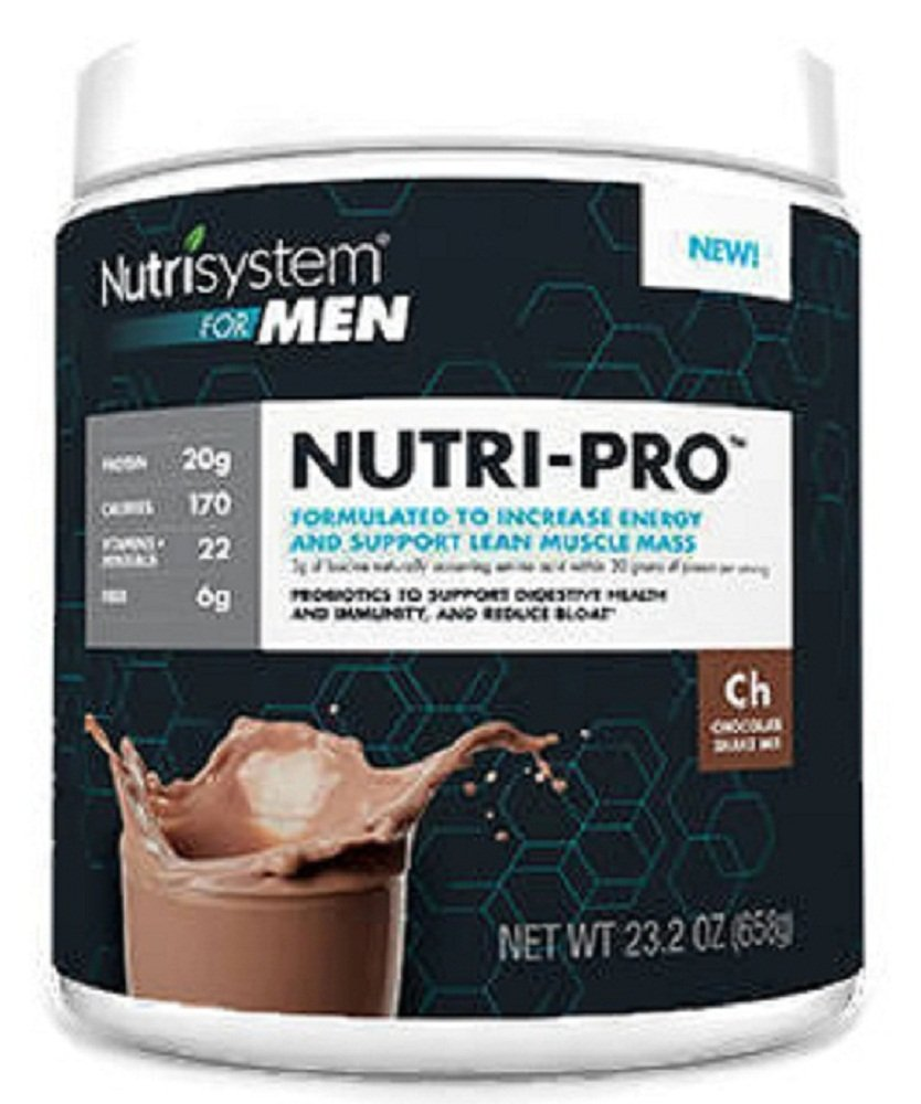 NUTRISYSTEM NUTRI-PRO FOR MEN (Protein + Probiotics) CHOCOLATE SHAKE MIX 23.2OZ - 14 Servings - Increase Energy & Support Lean Muscle Mass