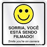 Placa em Alumínio, Sinalize, Sorria, Você Está Sendo Filmado, Prata, 15x15 cm