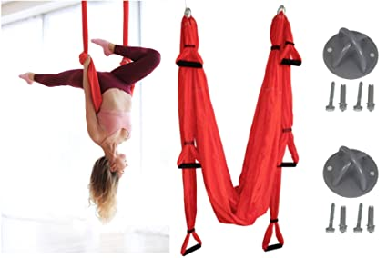 Red Yoga Swing Set, Aerial Yoga Swing, Yoga Hammock, Yoga Sling, Yoga Inversion Tool