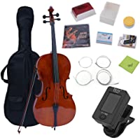 Full Size Student Cello, Hehilark 4/4 Size Cello Brown with Padded Bag for Beginner,Children over 11 years old