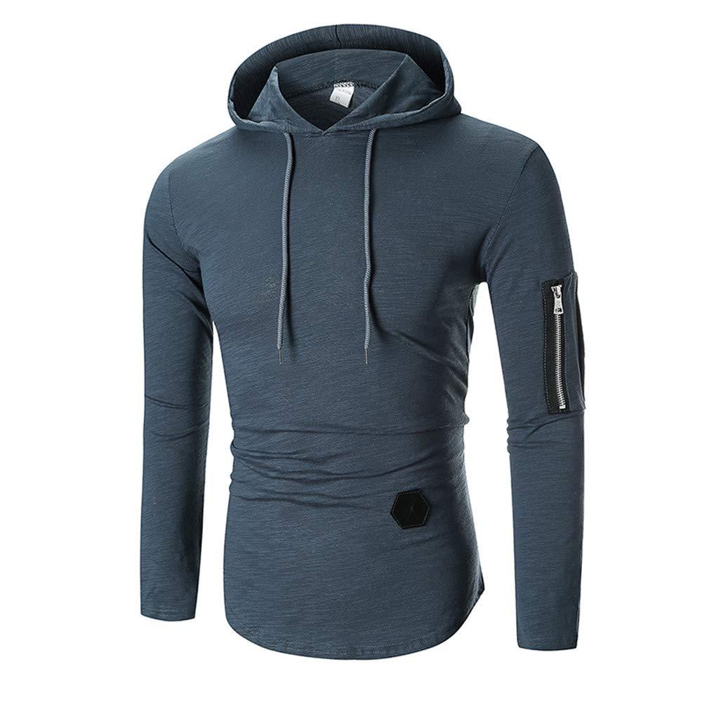 Men's Long Sleeve Sweatshirt Fashion Zipper Hoodie Lightweight Jacket Sport Outwear CieKen