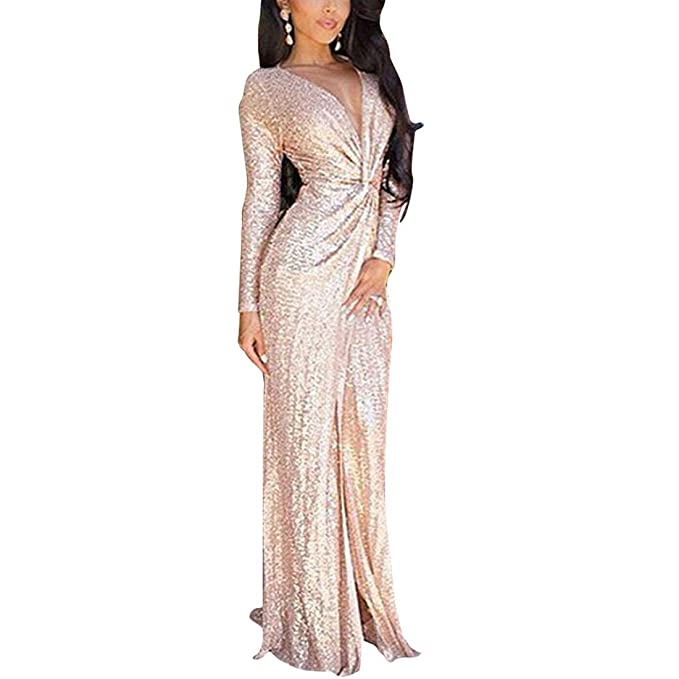 YYF Women Deep V Neck Bridesmaid Dresses Prom Banquet Evening Dresses Long Rose Gold Sequin Dress with Sleeves: Amazon.co.uk: Clothing