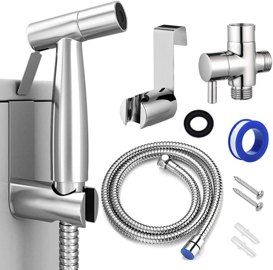 Bidet Sprayer For Toilet Handheld Cloth Diaper Sprayer Bathroom Jet Sprayer Kit Spray Attachment With Hose Stainless Steel Easy Install Great Water Pressure For Bathing Pets Feminine Hygiene Amazon Com