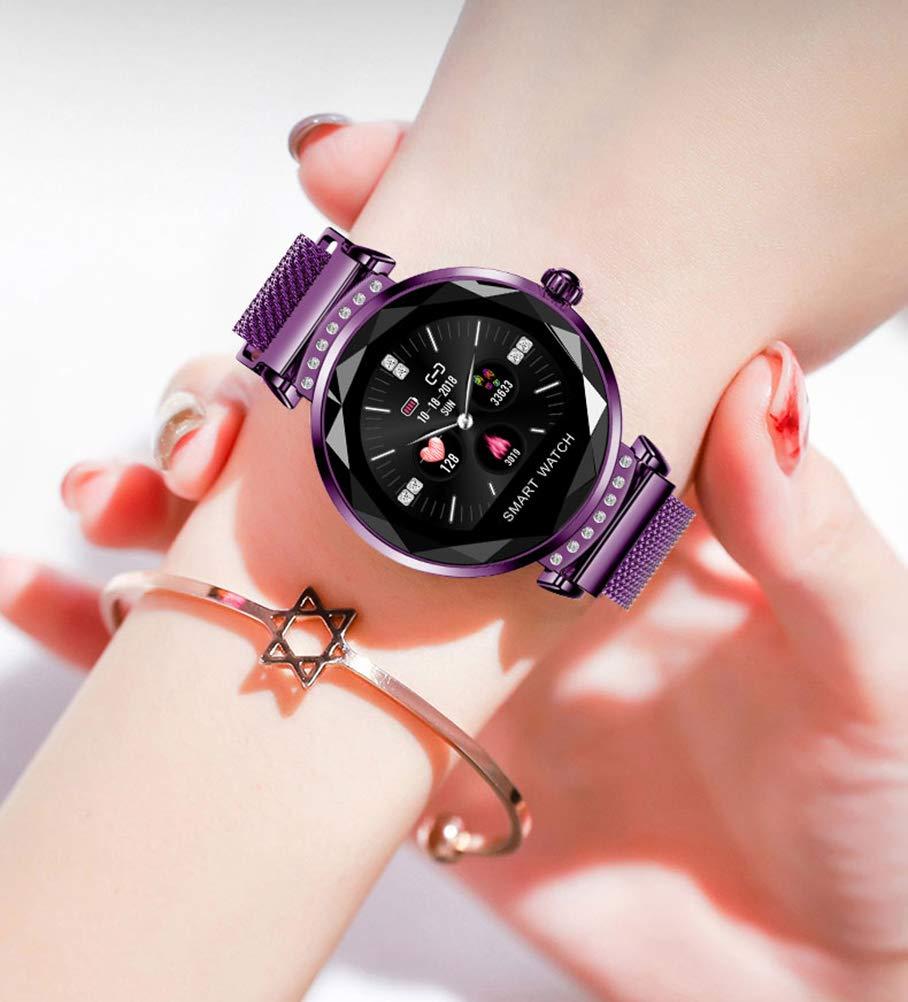 HAJZF Moda H2 Reloj Inteligente Mujeres 3D Diamante Vidrio ...