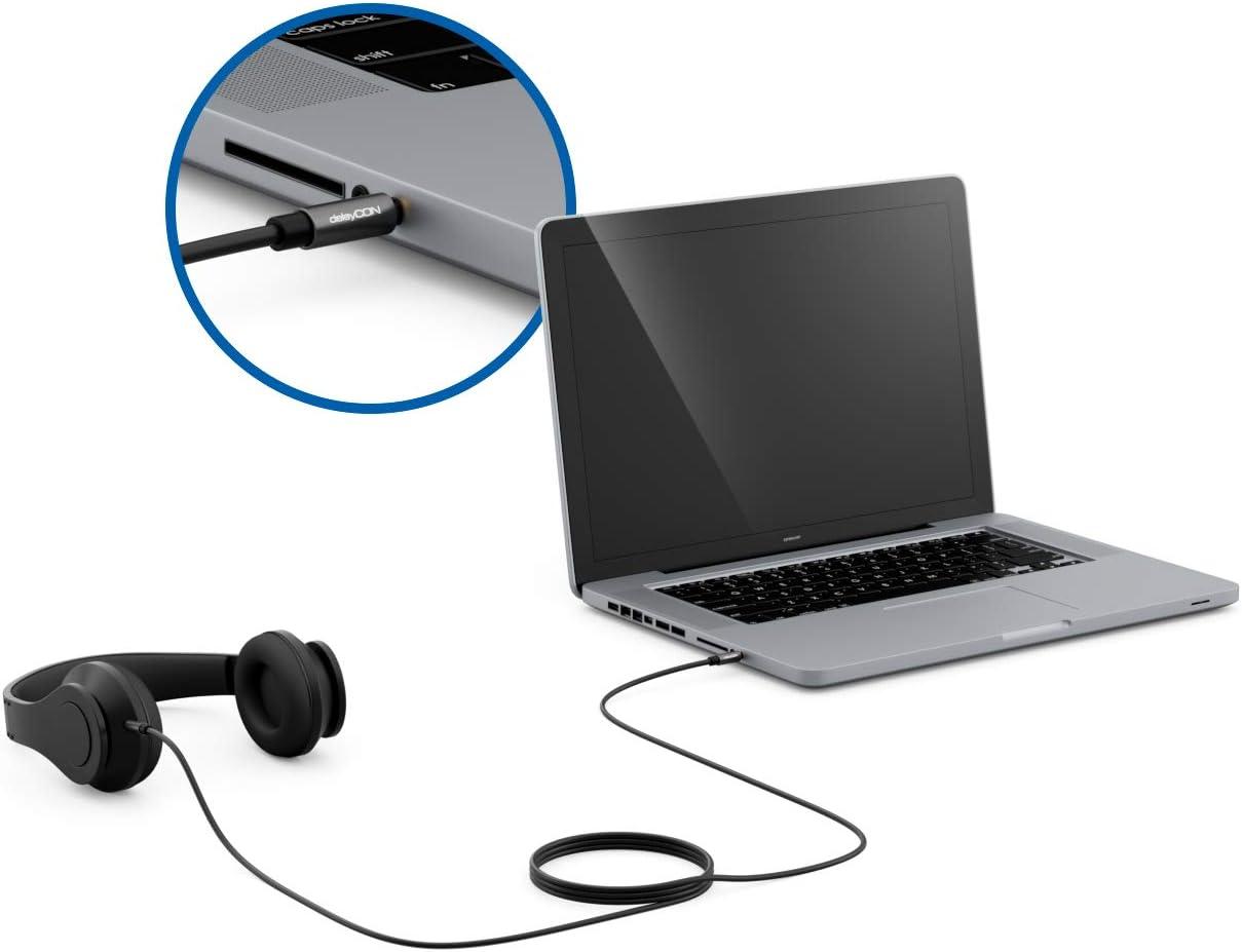 deleyCON 2m Jack Audio St/ér/éo C/âble AUX 3,5mm C/âble Jack C/âble Audio Fiche M/étallique T/él/éphone Mobile Smartphone Tablette Casque R/écepteur Hi-FI