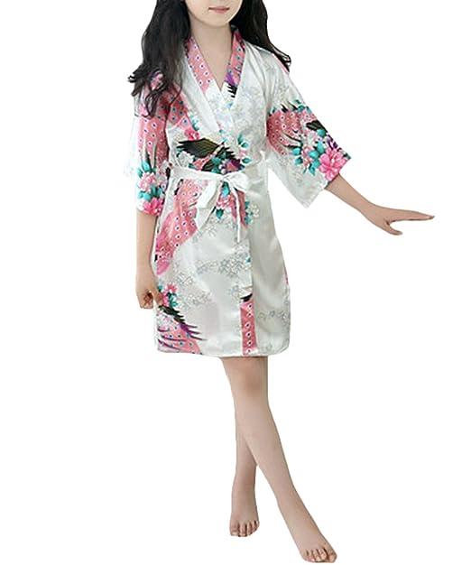 YOLIA Niñas de Verano para Niños Camisones Florales Impresos Mancha Kimono de Seda Batas Pijamas Camisones: Amazon.es: Ropa y accesorios