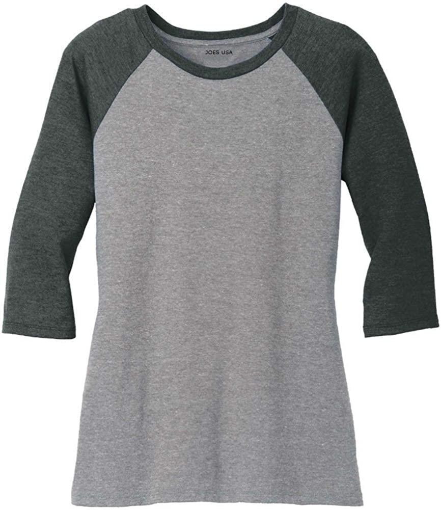 Joe's USA Ladies Raglan Baseball T-Shirts-3/4 Sleeve Baseball Tees. Sizes XS-4XL