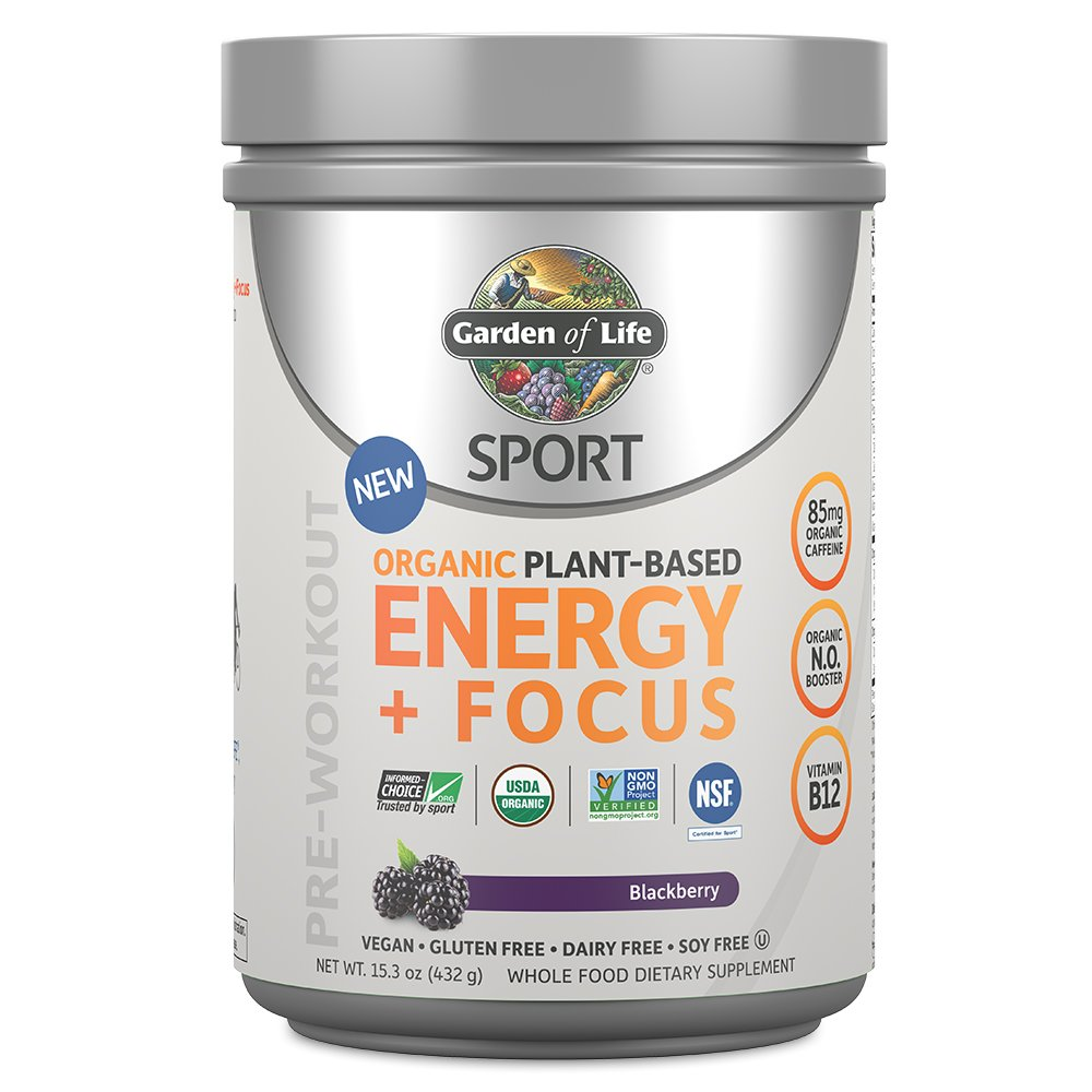 Garden of Life Sport Organic Pre Workout Energy Plus Focus Vegan Energy Powder, BlackBerry, 15.3oz (432g) Powder by Garden of Life