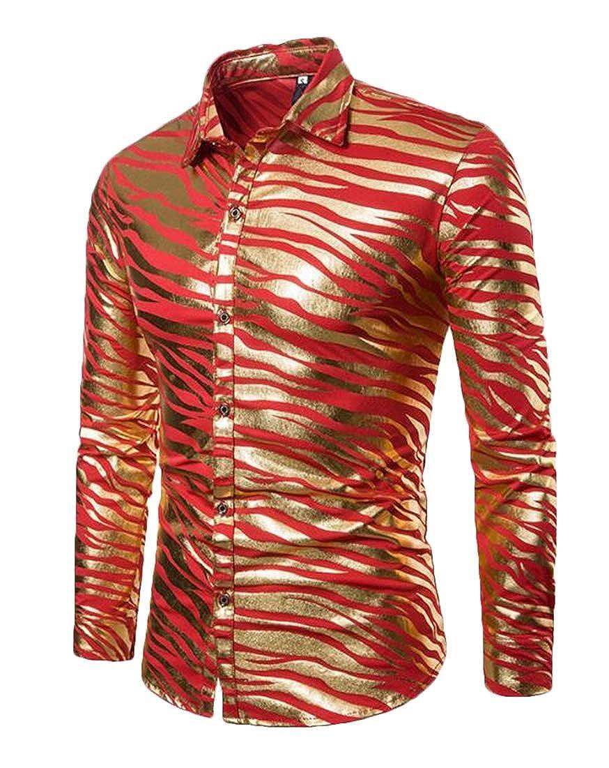 BYWX Men Button Up Lapel Printed Striped Long Sleeve Dress Work Shirt