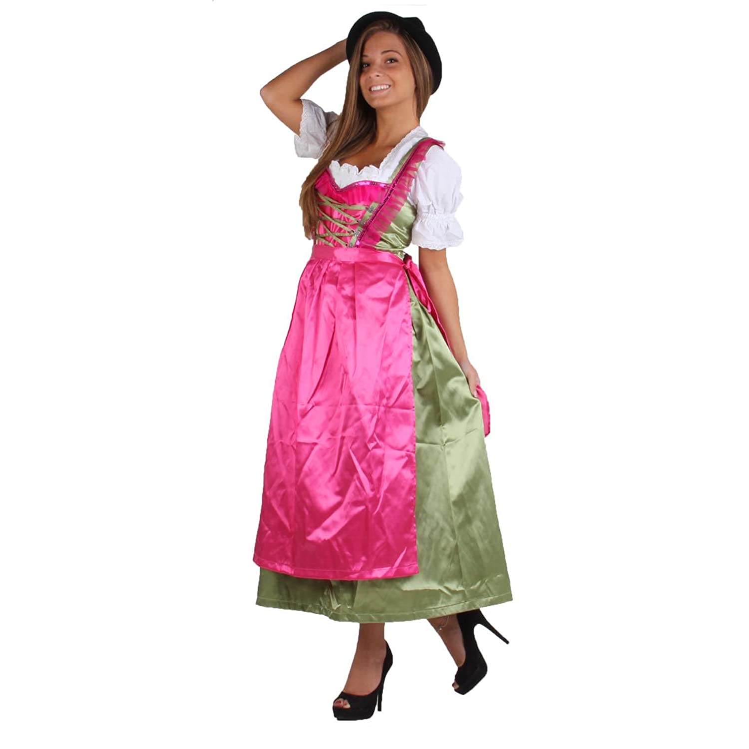 BLACK FOREST Damen Dirndl Trachtenkleid 3 in 1 P8 Pink Green