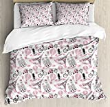Eiffel Duvet Cover Set King Size by Ambesonne, Love in the City Paris French Bridal Composition Romantic Travel Pink Blossoms, Decorative 3 Piece Bedding Set with 2 Pillow Shams, Rose Black White