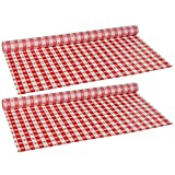 Hoffmaster 114001 Plastic Tablecover Roll, 300' Length x 40'' Width, Red Gingham, 2 Rolls
