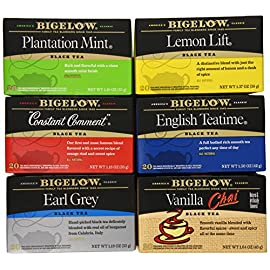 Bigelow Black Tea 6 Flavor Variety Pack, 20 Count Box (Pack of 6) Caffeinated Black Teas, 120 Tea Bags Total (Packaging… 1 CLEAN & SMOOTH: Bigelow's Plantation Mint Black Tea is clean & smooth with a refreshing mint finish. The fresh coolness of American grown spearmint brings a clean flavor to invigorate your tastebuds for the perfect start to your day or end to your night. INDIVIDUALLY WRAPPED: Bigelow tea always come individually wrapped in foil pouches for peak flavor, freshness, and aroma to enjoy everywhere you go! Gluten -free, calorie-free, & Kosher certified; Bigelow tea delivers on all the health benefits of tea. TRY EVERY FLAVOR: There's a Bigelow Tea for every mood and every time of day. Rise and shine with English Breakfast, smooth out the day with Vanilla Chai, get an antioxidant boost from Green Tea, or relax & restore with one of our variety of herbal teas.