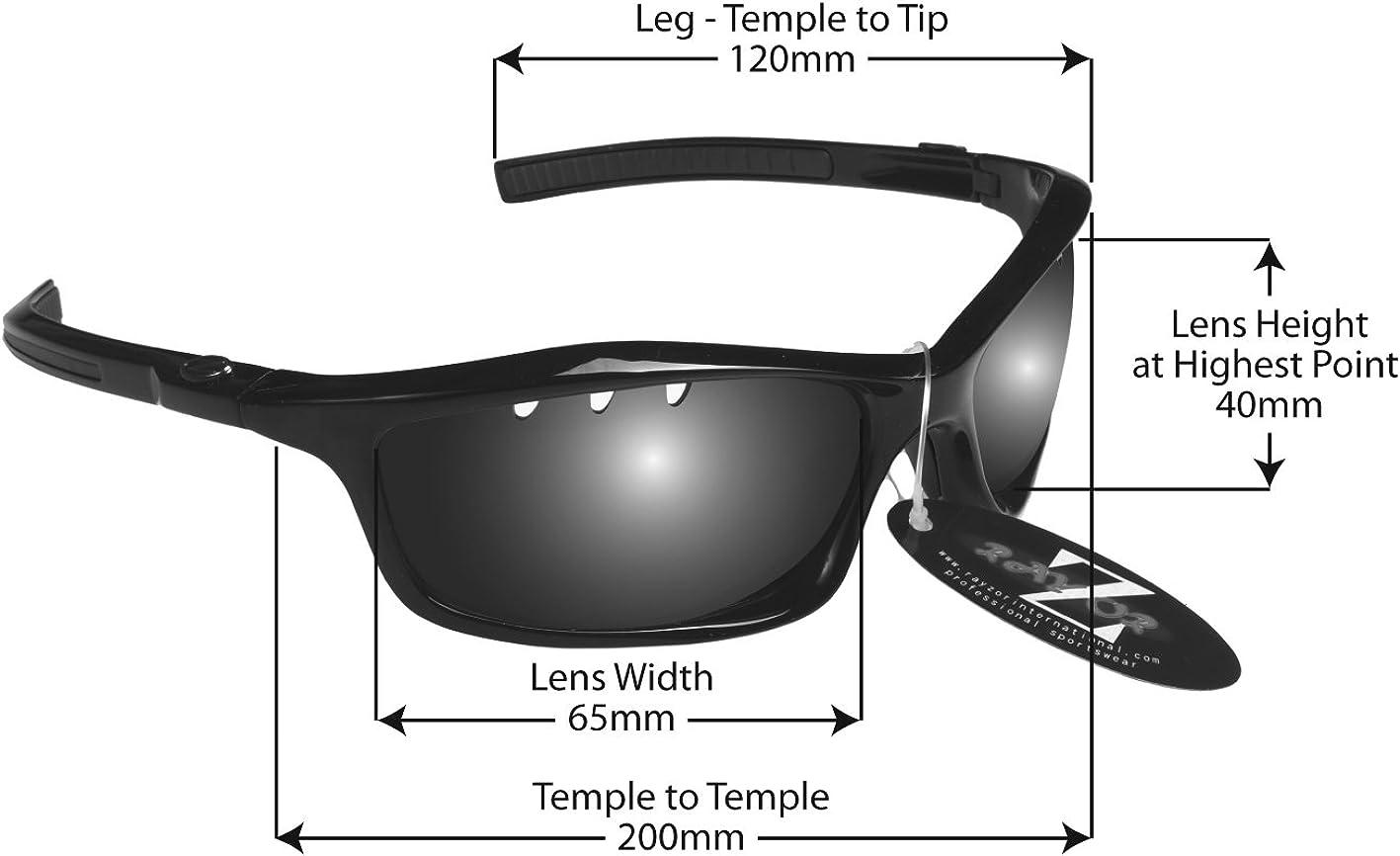 antirreflejos Rayzor Sports Wrap Gafas de sol ligeras para correr protecci/ón UV 400 con marcos irrompibles para hombre y mujer
