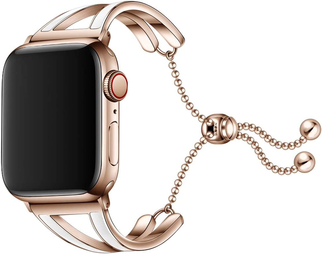 Wollpo Compatible with Apple Watch Band Women Girl Replacement Wristband for Apple Watch Series 4 Series 3 Series 2 Series 1 Sport and Edition (Chain Rose Gold 38/40mm)