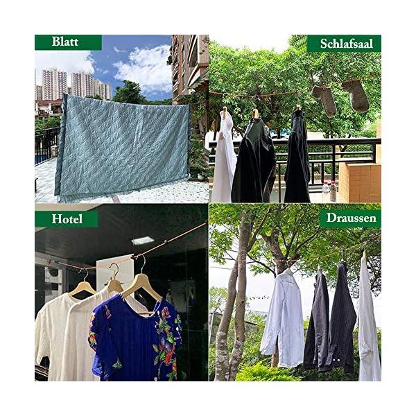 61dhMv0e07L Heatigo Wäscheleine Ausziehbar, Wäscheleine Camping Tragbare 8M Reise Urlaub Outdoor wäscheschnur Wäscheständer für…