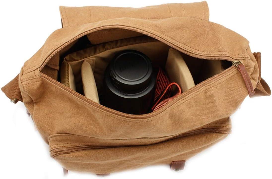 Color : Khaki XIAMEND Canvas Messenger Bag SLR DSLR Camera Bag with Shockproof Padded Interior Vintage Shoulder Bag for Digital Cameras