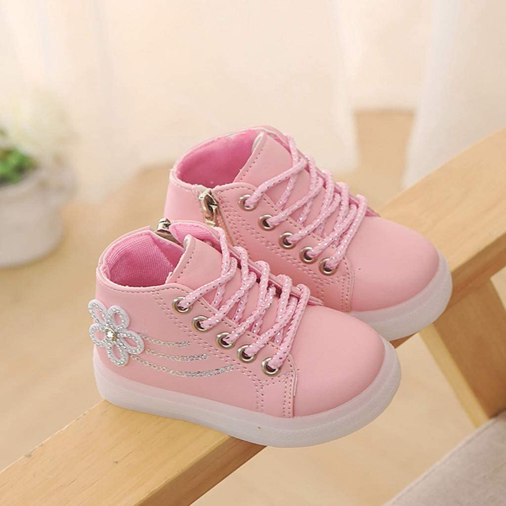 Kauneus Toddler Girls Fashion Lace Up Side Zipper High Top Sneakers Short Boot Rhinestone Flower Light up Shoes for Kids
