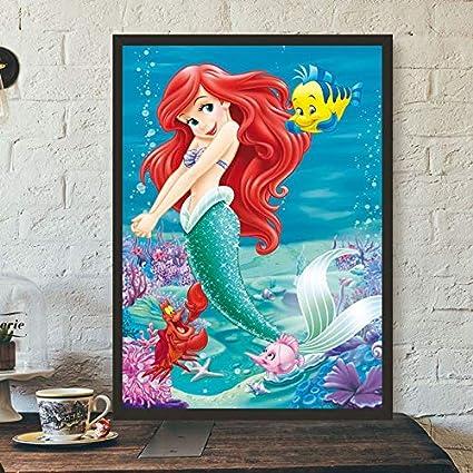 Geiqianjiumai Pequeña Sirena inspiradora Pared Arte Lienzo Cartel ...