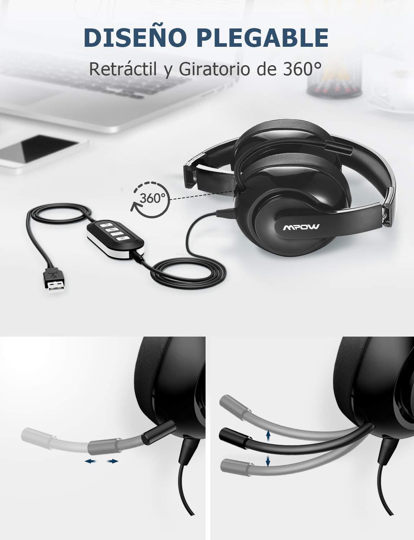 Auriculares Diadema para PC Cancelaci/ón de Ruido Auriculares USB//3.5mm para Skype Centro de Llamada M/óvil Videoconferencia y ect Mpow 224 Auriculares con Micr/ófono Viber Tableta