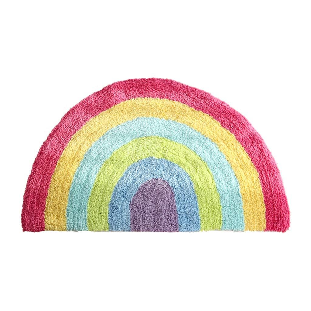 HGXC WY Algodón semicircular alfombras de Iris, alfombras de baño Cuarto de baño Alfombras Antideslizantes, 50 * 80 cm casa