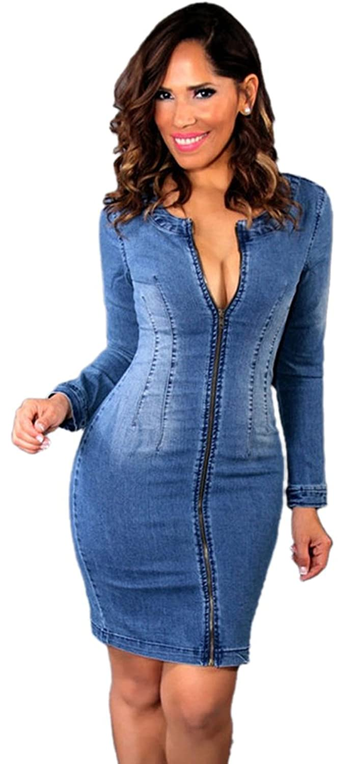 FQHOME Womens Sexy Long Sleeved Cutout Back Denim Dress