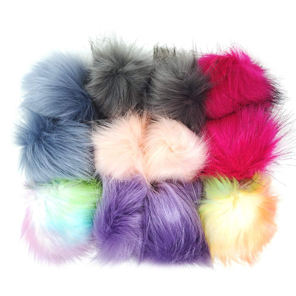 DIY key chain rainbow 12pcs Faux Raccoon Fur Fluffy Pom Pom Ball for Hat Shoes Scarves Bag Charms-Gift