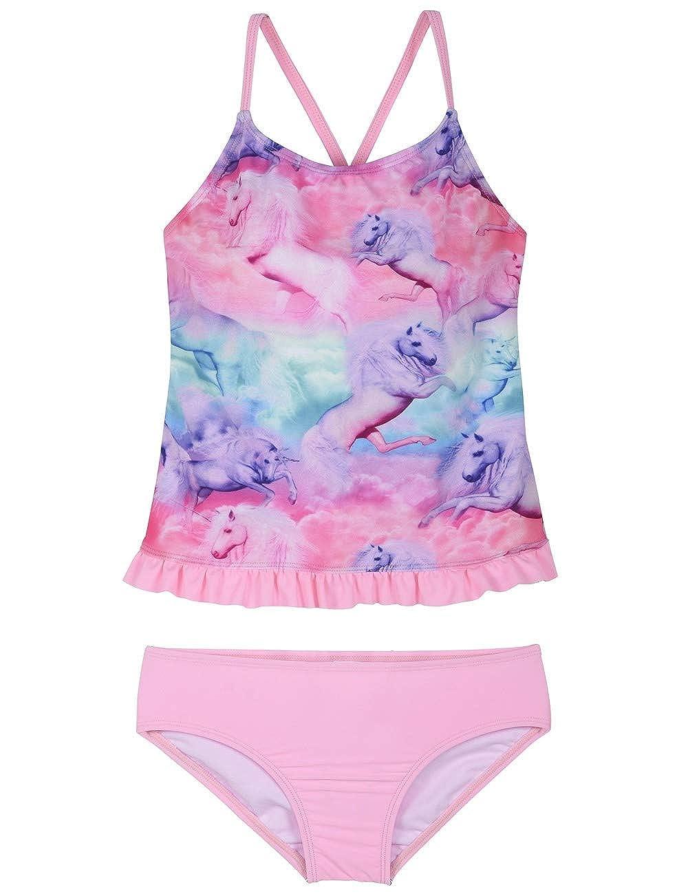 Firpearl Girls Two Piece Swimsuit Rainbow Unicorn Print Flounce Tankini Kids Swimwear