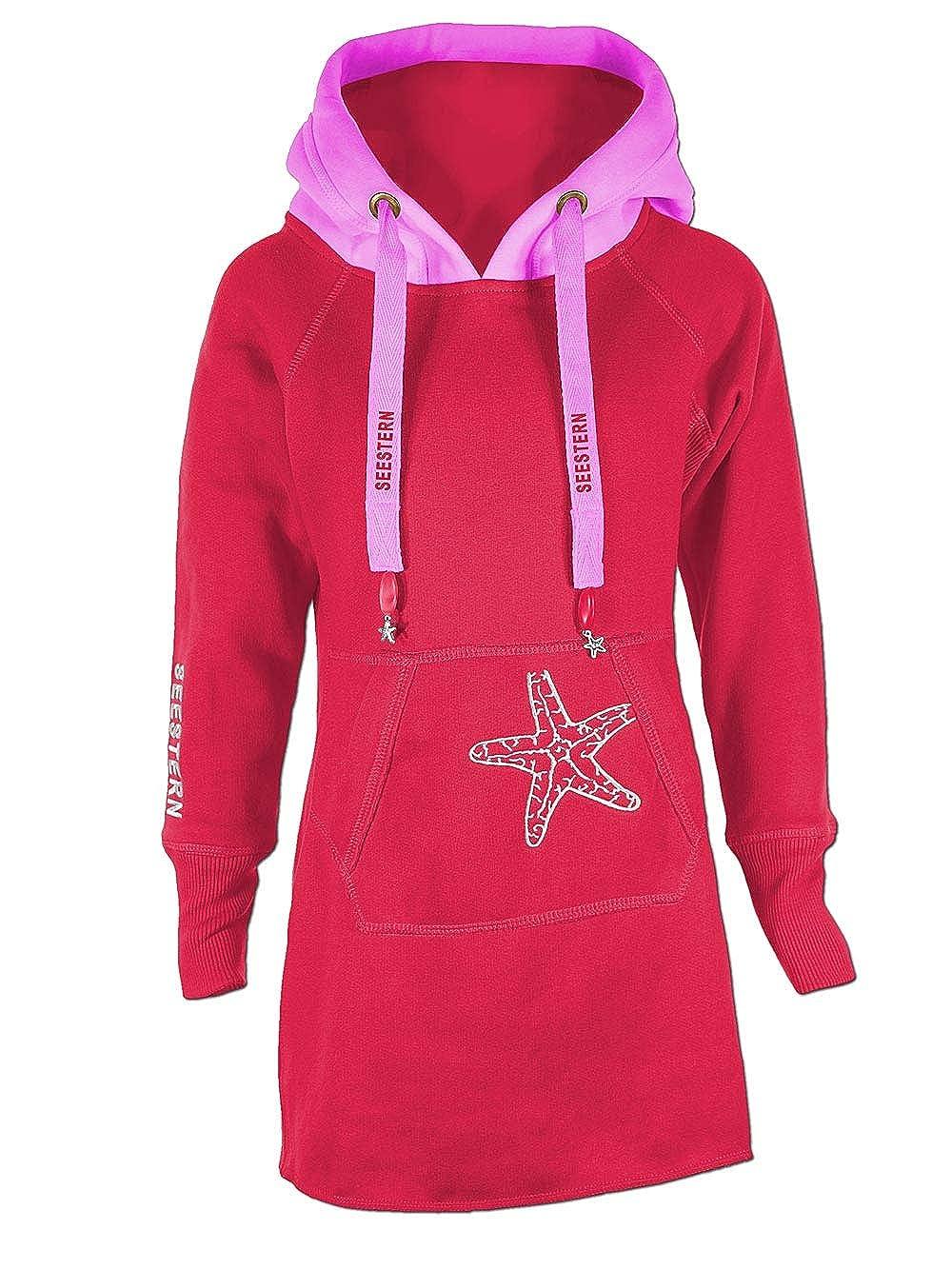 SEESTERN Kinder Langes Kapuzen Sweat Shirt Pullover Hoody Sweater Gr.116-164/1805.rd_pk SW1805.rd_pk