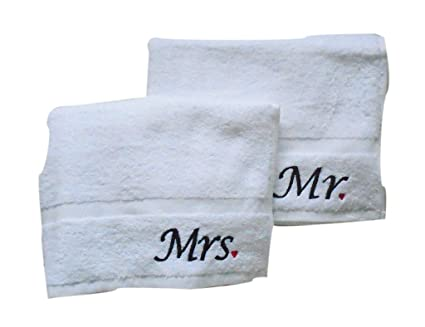 Par de blanco personaliseitonline Mr y Mrs bordado toallas de mano de