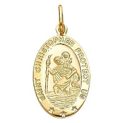 Amazon 14k yellow gold religious saint christopher medal 14k yellow gold religious saint christopher medal charm pendant 18 x 11 mm aloadofball Images