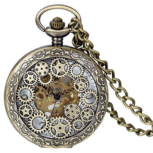 JewelryWe Classic Antique Half Hunter Metal Hollow Gear Wheel Skeleton Hand Wind Mechanical Pocket Watch with Chain - Wheel Watch