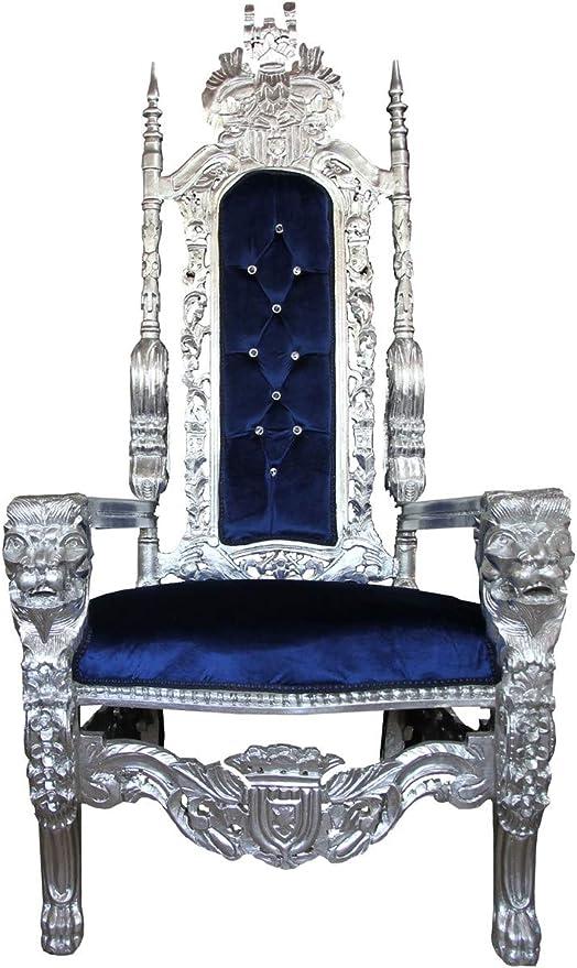 Fauteuil baroque bleu et argent