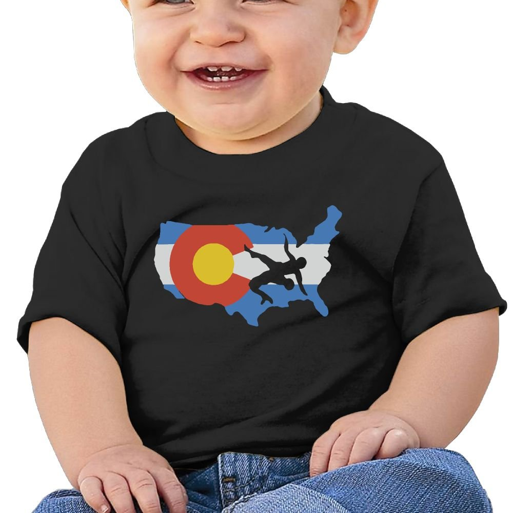 YUEskd Colorado USA Wrestling Newborn Baby Summer Short Sleeve Crew Neck T Shirts for 6-24 Month Tops
