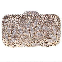 Fawziya Rhinestone Floral Clutch Bags For Womens Purses And Handbags-Gold