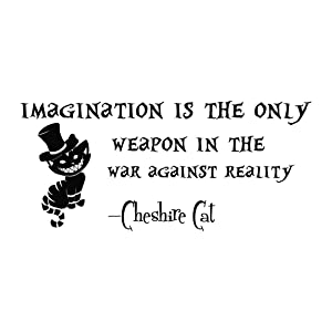 Alice in Wonderland Wall Decal Quote Vinyl Sticker Decals Quotes Imagination is The Only Weapon Wall Decal Quote Cheshire Cat Sayings Wall Decor Nursery ZX55