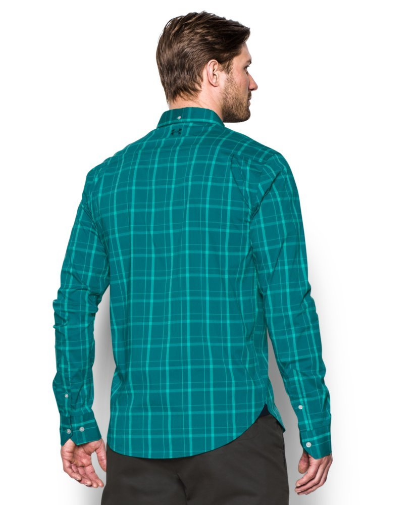 Under Armour Men's Performance Woven Shirt, Turquoise Sky (158)/Turquoise Sky, X-Large by Under Armour (Image #2)