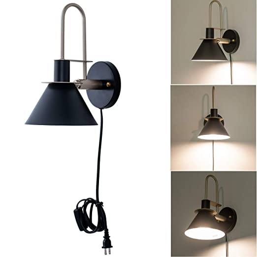 Modern Plug In Wall Sconce Contemporary Hardwired Matte Black Wall Sconce Lamp Light For Bedroom Living Room Display Decor