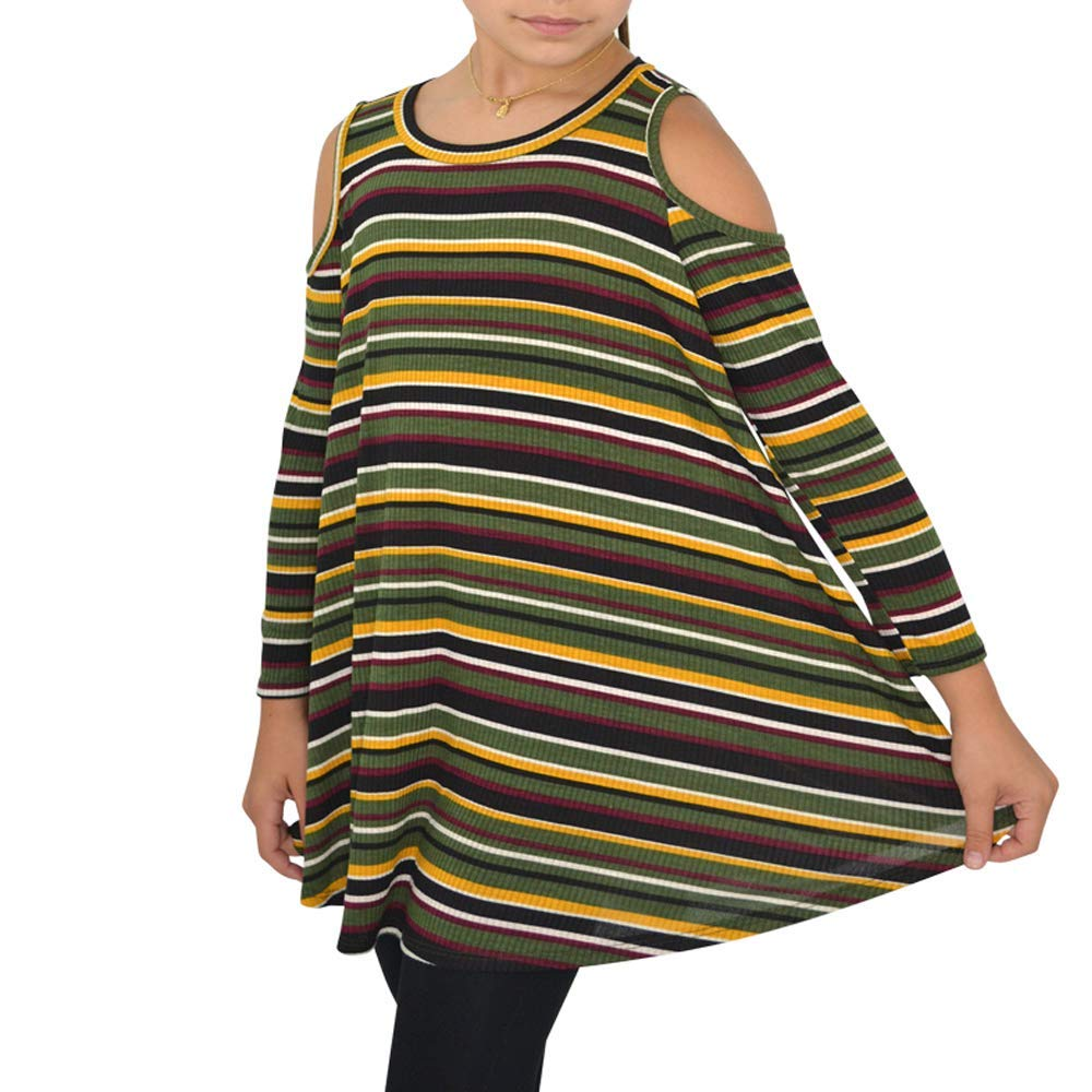Weekend Vibes Girls Cold Shoulder Striped Top in Olive