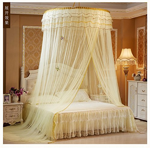 Princess Hanging Round bigger ceiling topper(diamater=47.2inch) Lace Canopy Bet Netting Mosquito Net for Crib Twin Full Queen Bed Yellow