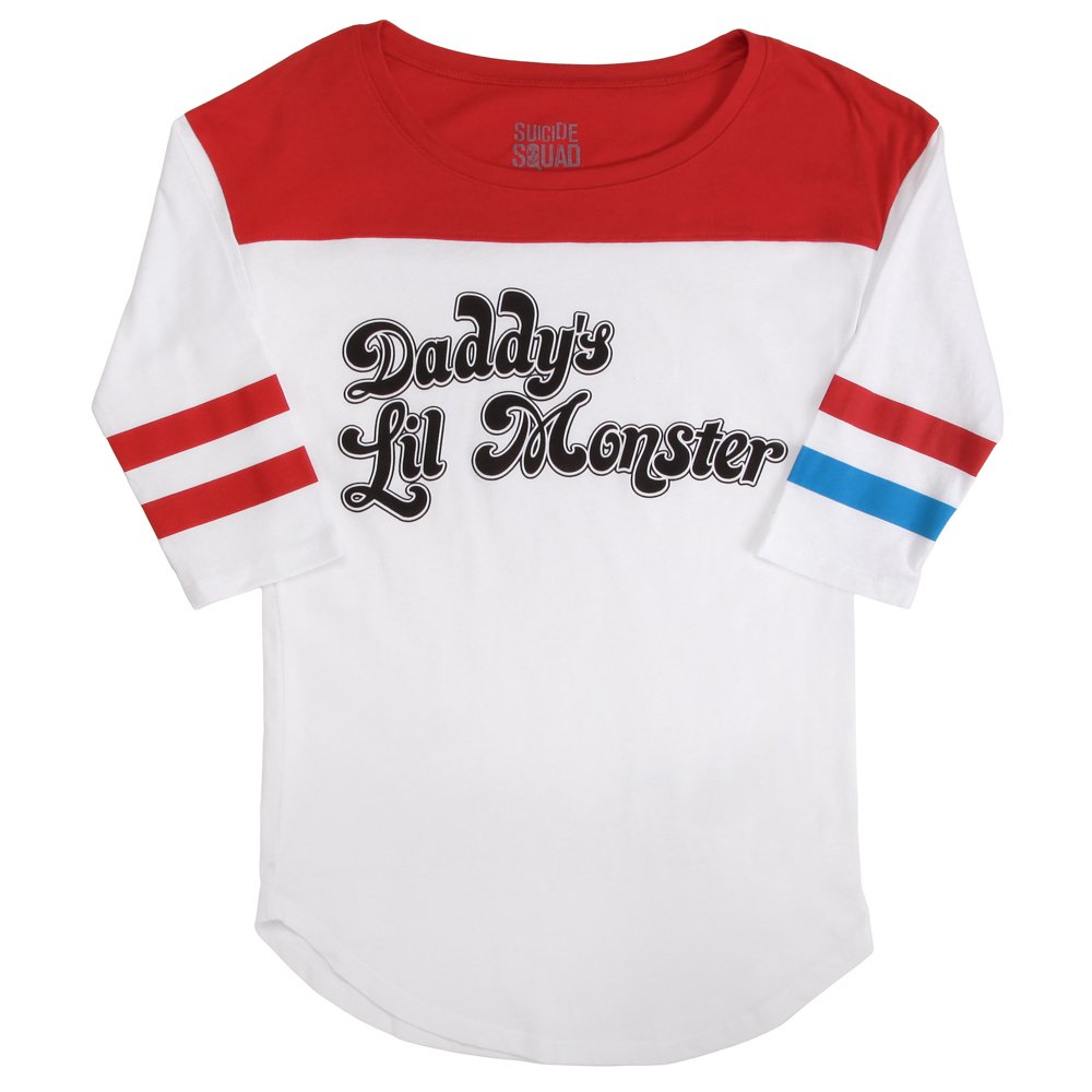 89c6c012f73 Official DC Comics Suicide Squad Harley Quinn Daddy s Lil Monster Women  Baseball T Shirt White XXL - UK-16 White