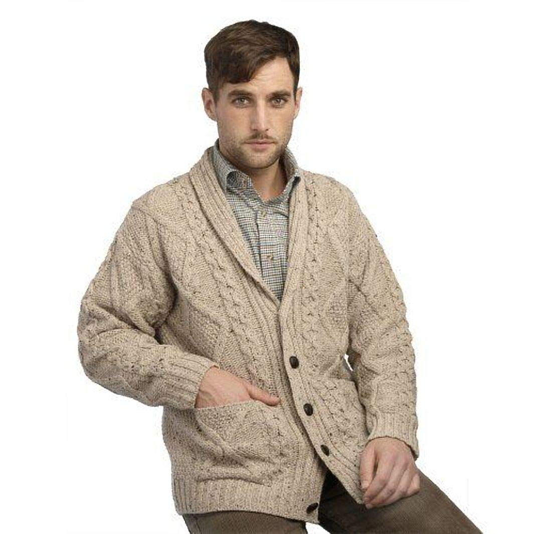West End Knitwear Men's Aran Shawl Collar Cable Knit Cardigan Sweater - Oatmeal - Large by West End Knitwear