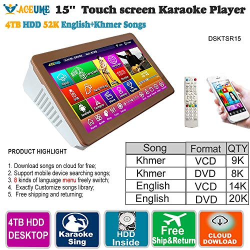 52k Players - 4TB HDD 52 K Khmer/Cambodian VCD, DVD +English DVD Songs 15'' Touch Screen Karaoke Player/Songs Machine,Jukebox,Mulitilingual Menu, Remote Controller